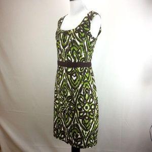 Milly Dress 10 Green Brown Barkcloth Tiki Print